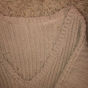 Vici Sweaters - Vici Tan Cropped Off Shoulder Sweater
